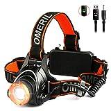 OMERIL LED Stirnlampe Wasserdicht LED Kopflampe 2000 Lumen Super Hell USB...