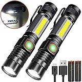 Taschenlampe LED Magnet USB Aufladbar Zoombar (Mit 18650 Akku) Karrong COB...