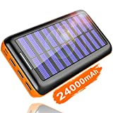 KEDRON Externer Akku 24000mAh Solar Powerbank, Solar Ladegerät mit 3...