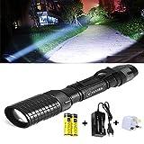 LED Taschenlampe, Vander Super Hell 5000 Lumen T6 Taktische Taschenlampe mit 5 Leuchtmodi, Zoombar Wasserfest Tragbare Taschenlampen mit Einstellbar Fokus für Wandern Camping Handlampe (Inklusive 2 x 18650 Batterie oder Akku Und Adapter dabei)