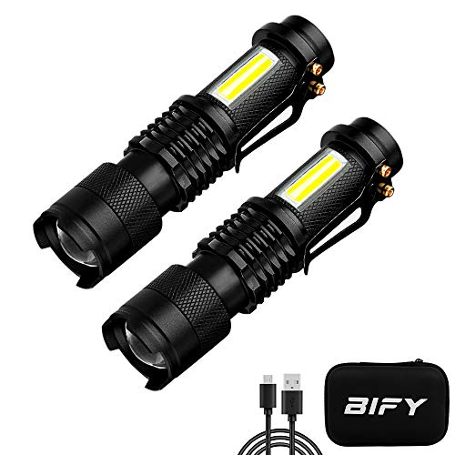 BIFY Tactical Taschenlampen Wiederaufladbar Zoomable Wasserdichte COB...