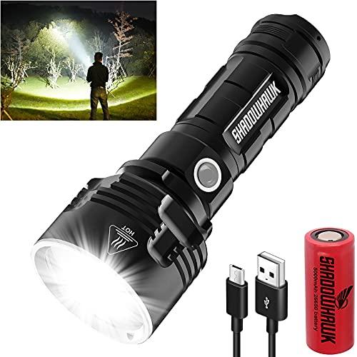 Shadowhawk Taschenlampe Led, Extrem Hell 4000 Lumen USB Aufladbar Taktische...