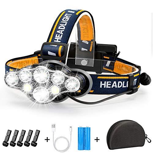 Stirnlampe, Superheller Kopflampe 18000 Lumen 8 LED 8 Modi mit Rotem...