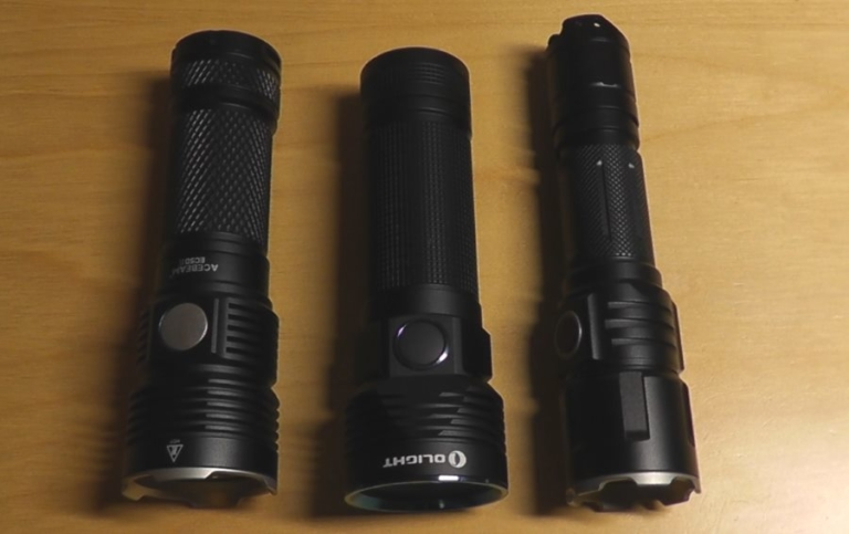 Acebeam EC 50 Gen II, Olight R50 Pro Seeker und Klarus XT11GT im Vergleich