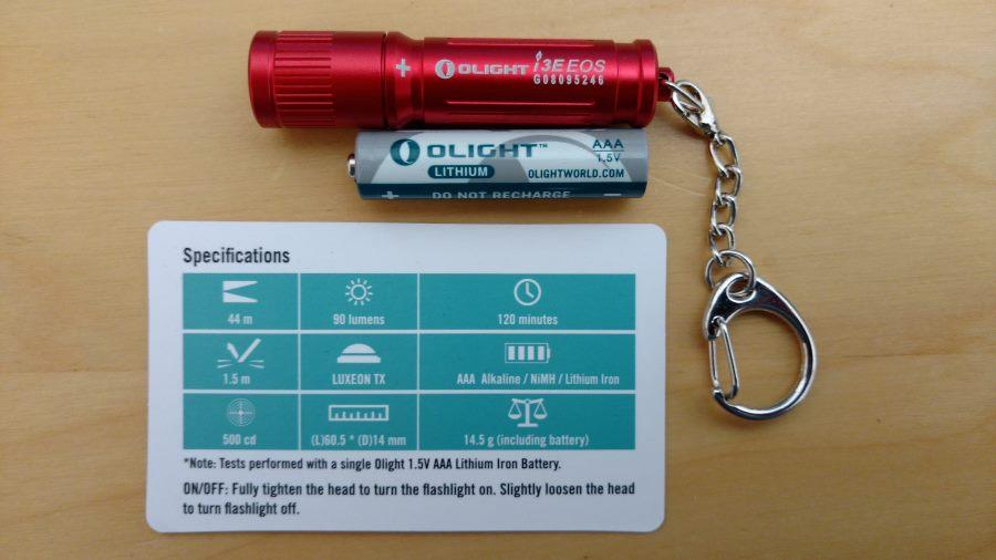 Olight I3E EOS Mini LED Taschenlampe in rot