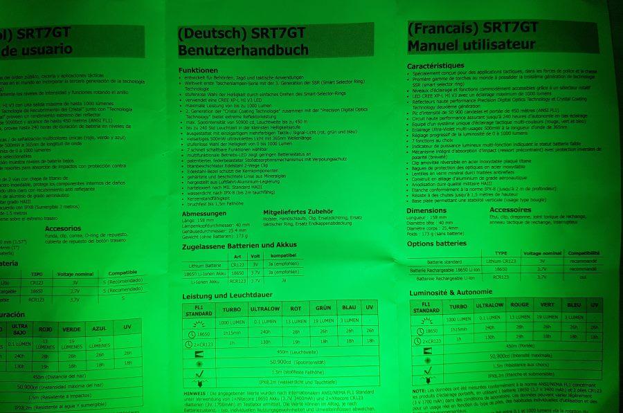 Nitecore SRT7GT LED Taschenlampe mit grünem Licht