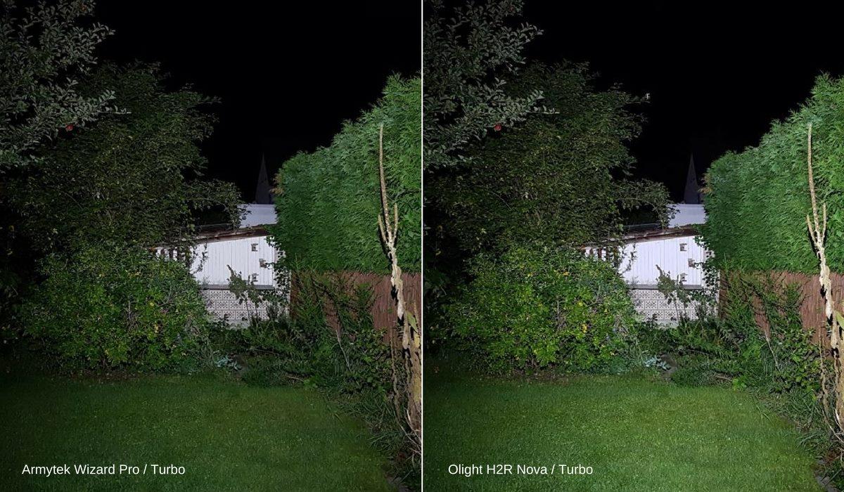 Die Stirnlampen Armytek Wizard Pro und Olight H2R Nova leuchten im Turbo Modus eine Gartenhütte an