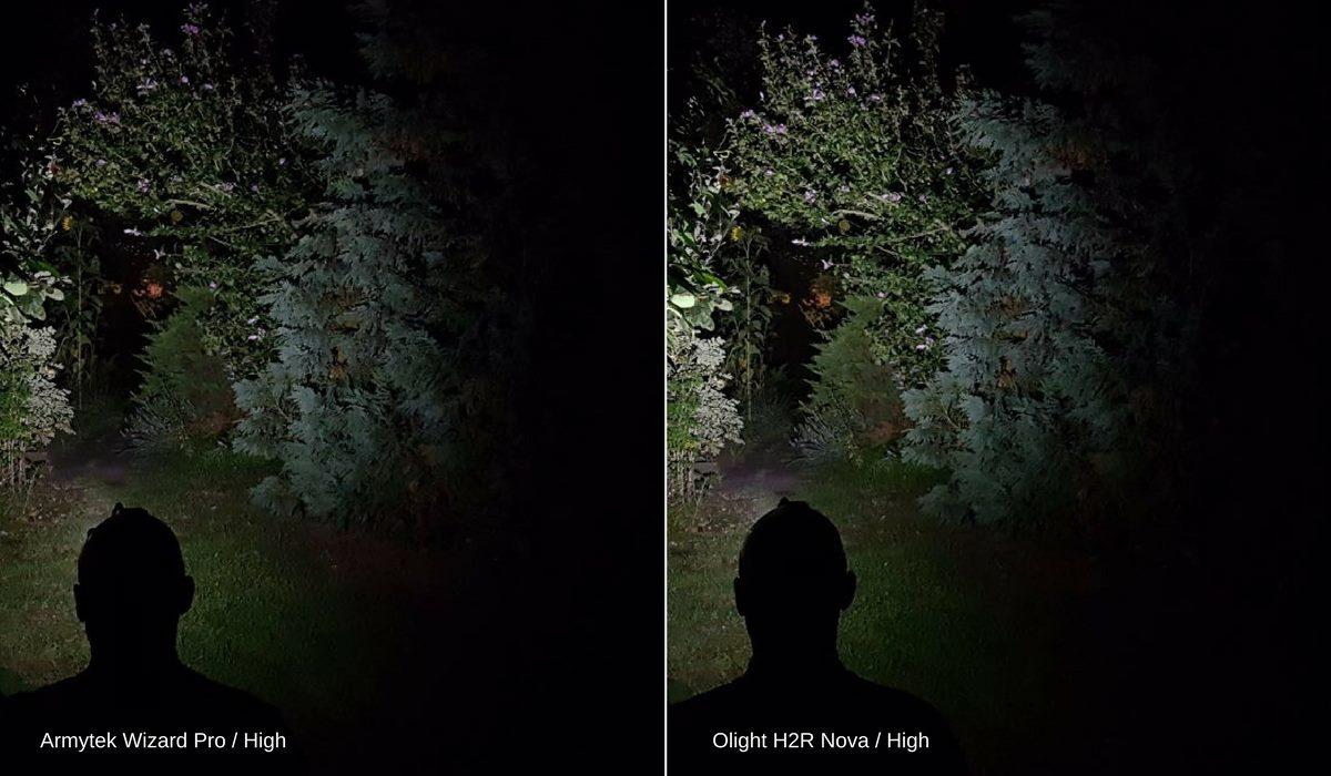 Vergleich: Die Stirnlampen Armytek Wizard Pro und Olight H2R Nova leuchten im High Modus einen Gartenweg aus