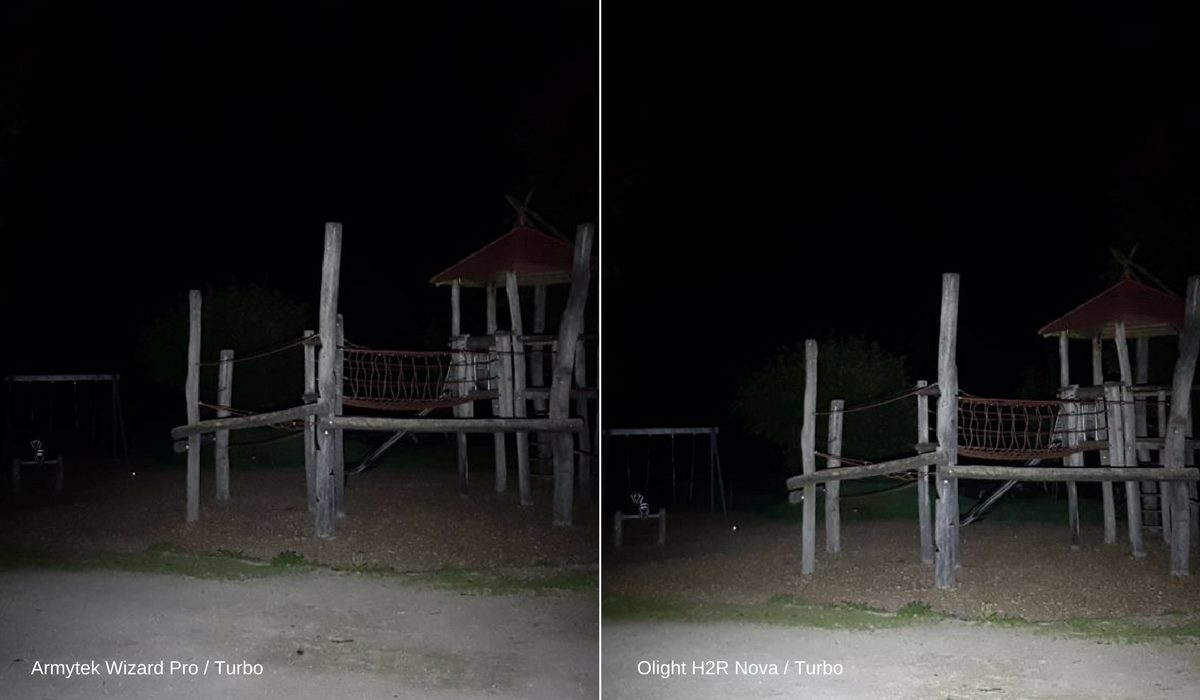 Vergleich: Die Stirnlampen Armytek Wizard Pro und Olight H2R Nova leuchten im Turbo Modus einen Spielplatz an