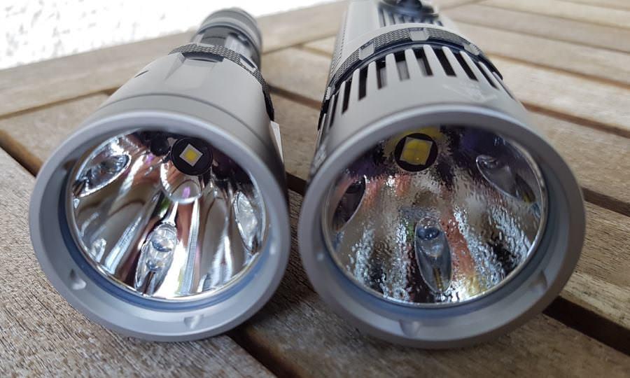 Unterschiedliche Reflektoren der Nitecore SRT7GT und SRT9