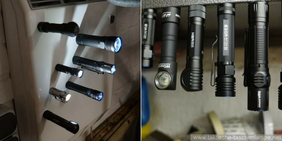 LED Taschenlampen mit magnetischen Endkappen in unterschiedlichen Positionen befestigt.