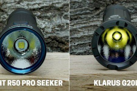 Olight R50 Pro Seeker und Klarus G20L im Vergleich