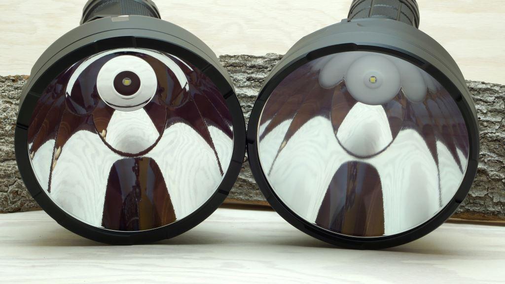 BLF GT und Astrolux MF04 - Blick in den Reflektor und zur LED