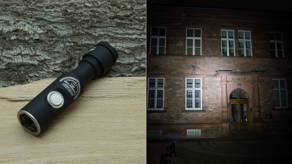 Armytek Prime A1 Pro V3 LED Taschenlampe und Beamshot