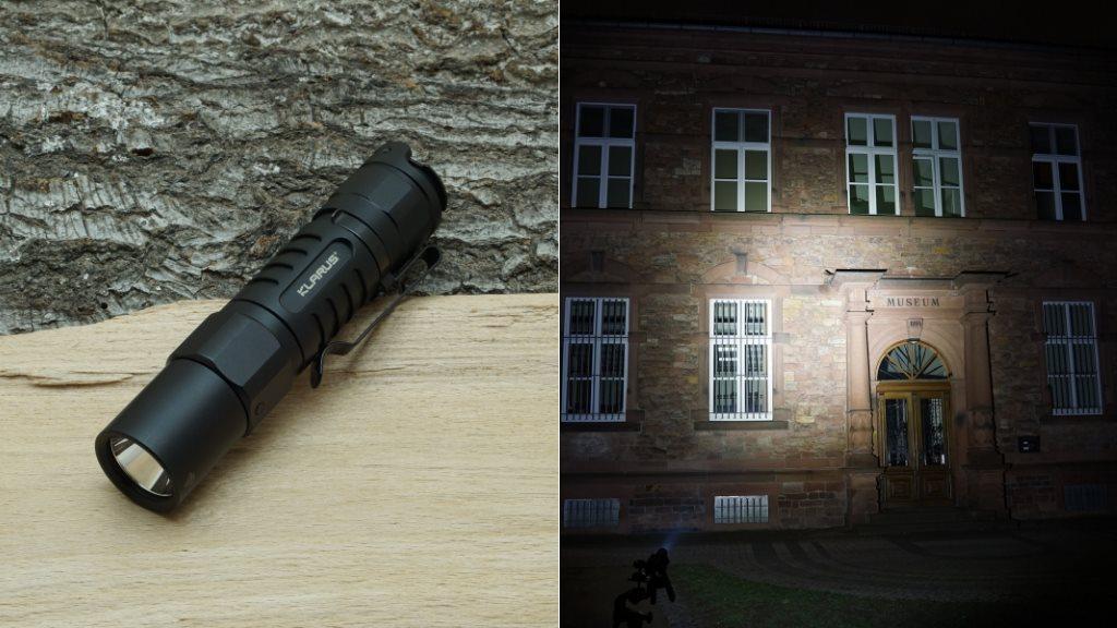 Klarus XT1A LED Taschenlampe und Beamshot