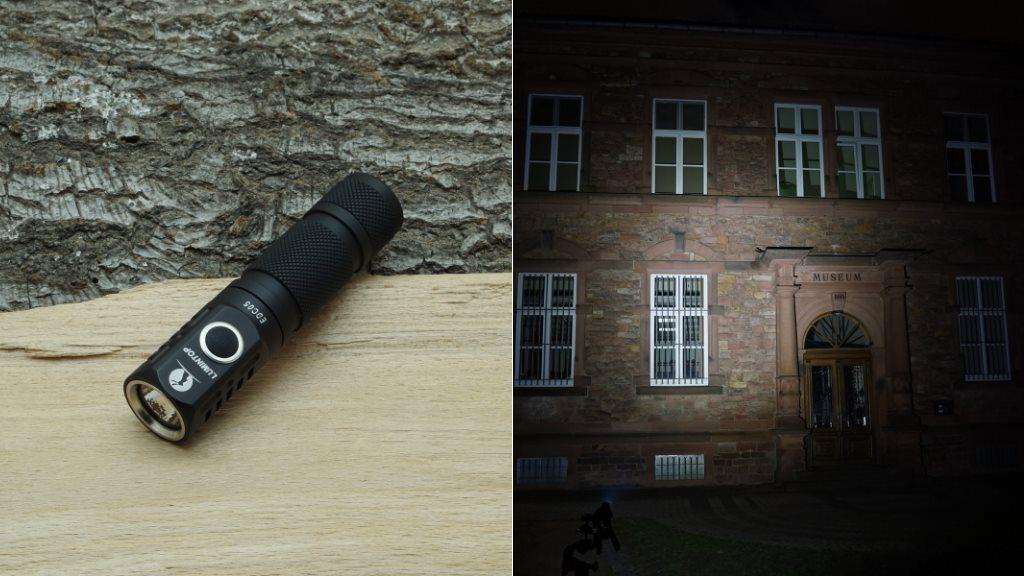 Lumintop EDC05 LED Taschenlampe und Beamshot