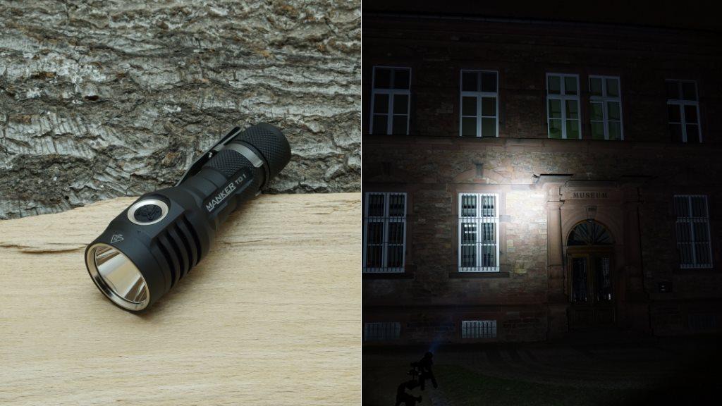 Manker T01 LED Taschenlampe und Beamshot