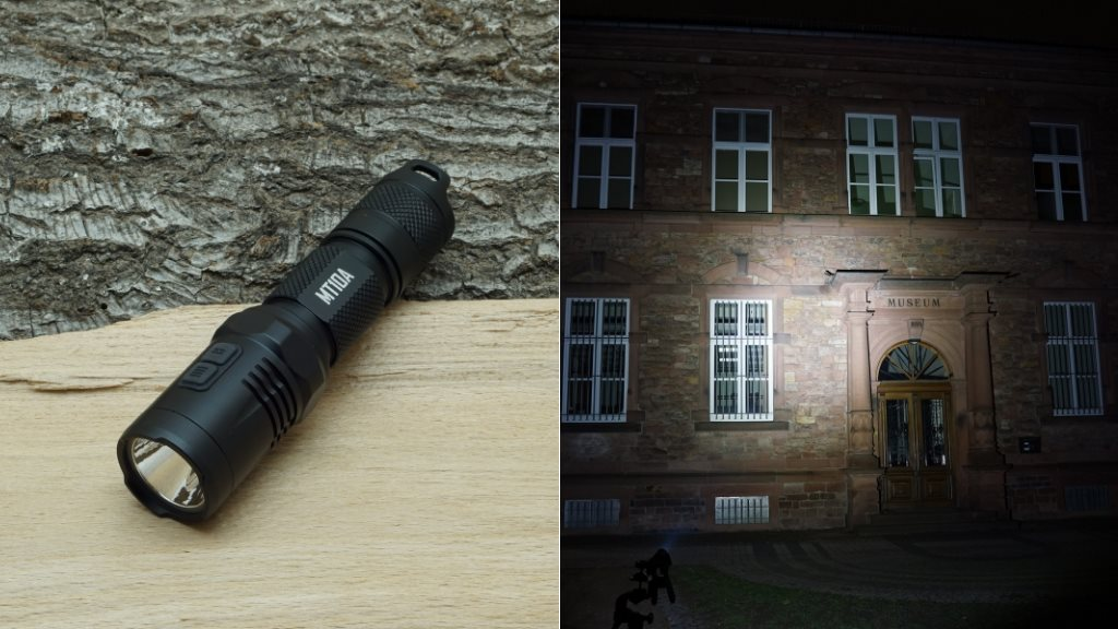 Nitecore MT10A LED Taschenlampe und Beamshot