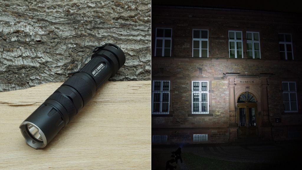 Nitecore SRT3 LED Taschenlampe und Beamshot