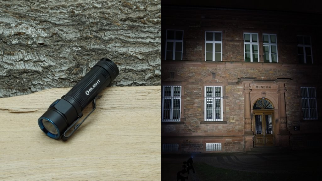Olight S1A LED Taschenlampe und Beamshot
