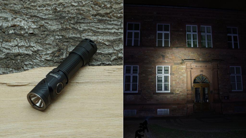 Rofis R2 LED Taschenlampe und Beamshot