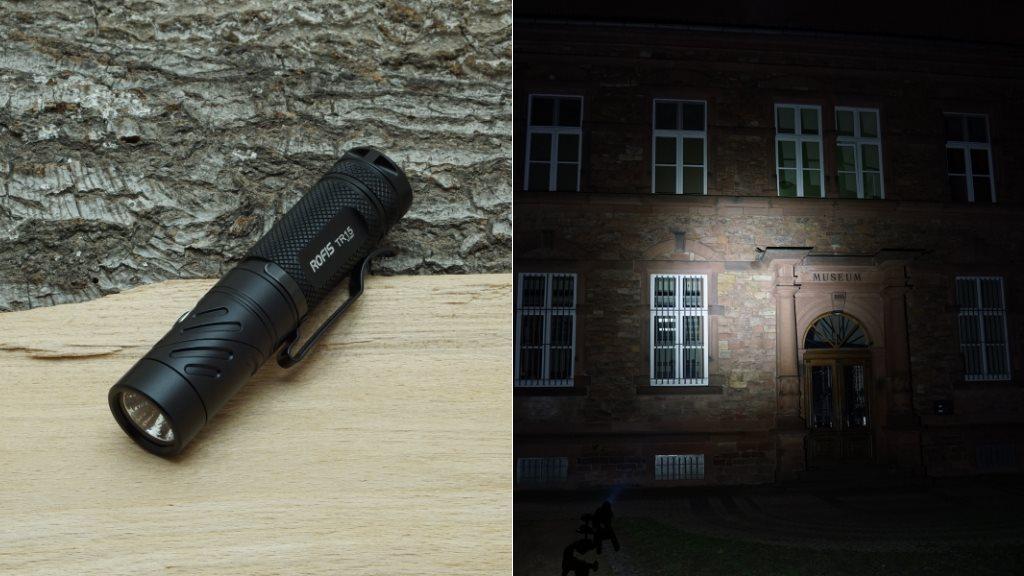 Rofis TR15 LED Taschenlampe und Beamshot