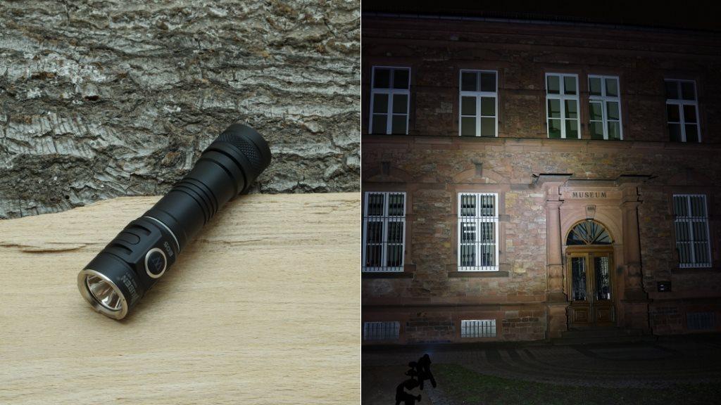 Wuben E05 LED Taschenlampe und Beamshot