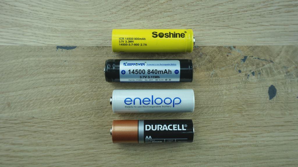 14500 Akku (ungeschützt), 14500 Akku (geschützt), Eneloop Akku und AA-Batterie im Vergleich