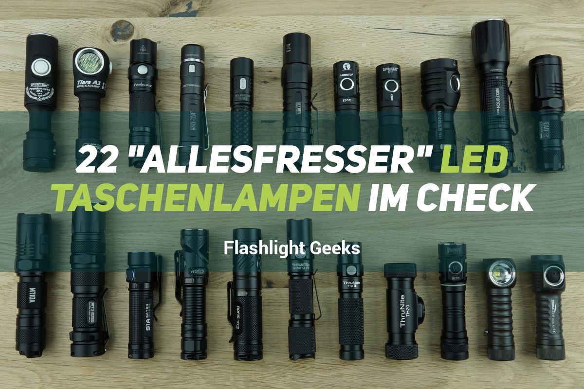 """22 """"Allesfresser"""" 14500 und AA LED Taschenlampen im Check"""