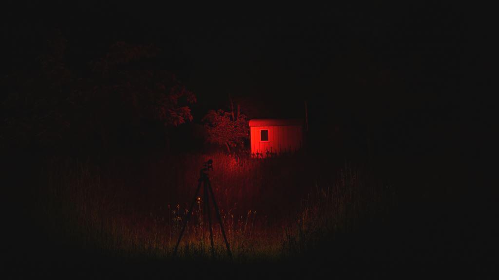 Jagd Taschenlampe Ledlenser MT14 Beamshot fokussiert mit rotem Filter